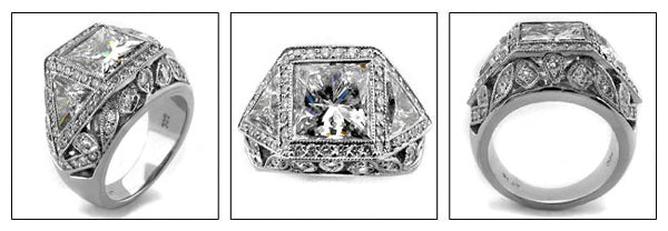 Estate 2.5 Princess bezel halo Cubic Zirconia Cz Ring