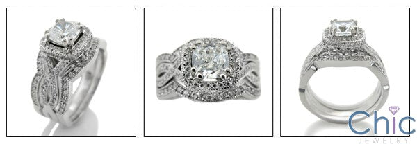 Matching Set 1.25 Cushion Center Pave Double Cubic Zirconia Cz Ring