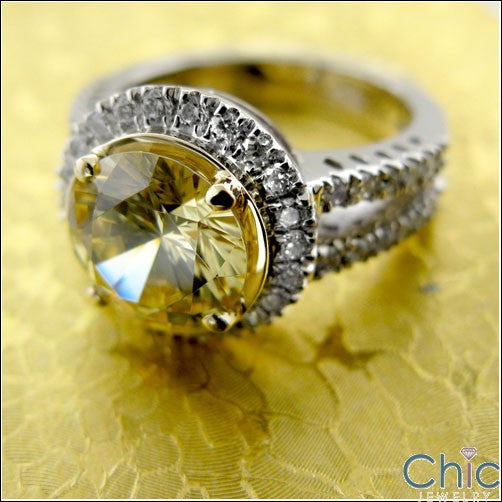 Canary 3 Ct Round Two Tone Gold Halo Cubic Zirconia Split Shank 14K Ring