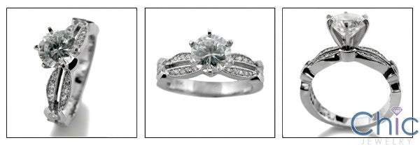 Engagement 1 Ct Round Brilliant Center Micro Pave Cubic Zirconia Cz Ring