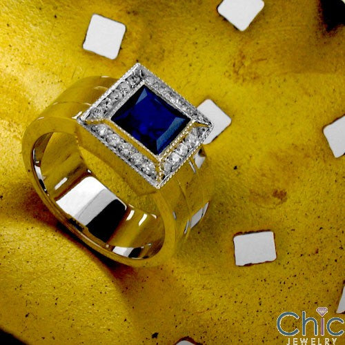 Anniversary Sapphire 1 Ct Princess in Halo Cubic Zirconia Cz Ring