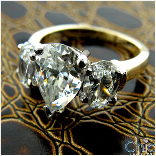 3 Stone Pear Oval Cubic Zirconia Two Tone Gold Ring