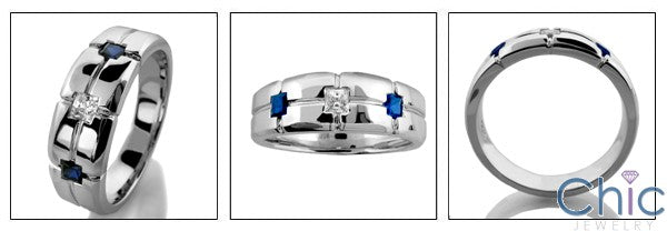 Mens Sapphire Ct Diamond Princess Channel Cubic Zirconia CZ Wedding Band