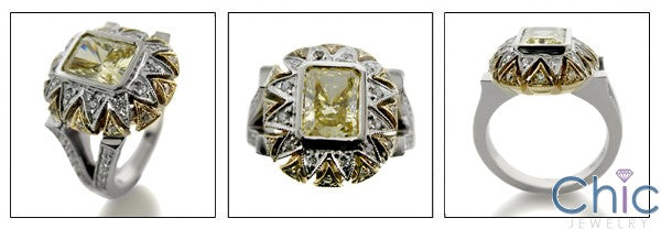 2 Ct Canary Radiant Bezel Two Tone Cubic Zirconia Pave 14K Gold Ring