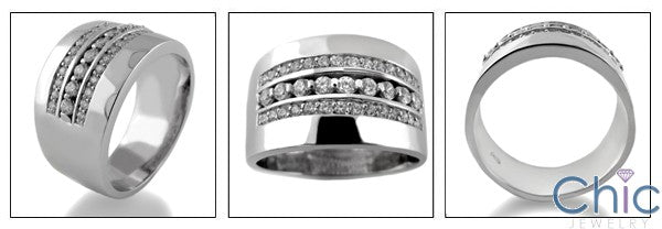 Mens 1.25 TCW 12MM Pave Cubic Zirconia CZ Wedding Band