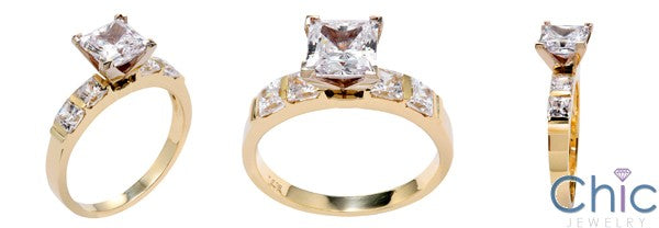 Engagement 1.5 Princess Cubic Zirconia in 4 Prong Channel Set Sides CZ 14K White Gold Ring