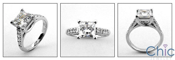 Engagement 1.5 Princess Center Diamond CZ Cubic Zirconia 14K W Gold Ring