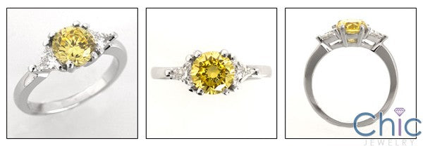 3 Stone Cubic Zirconia Ring 1.25 Round CanaryTriangles Cz 14K W Gold Ring