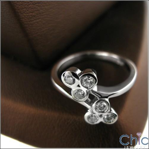 0.60 round Bezels Cubic Zirconia Promise Ring 14K White Gold