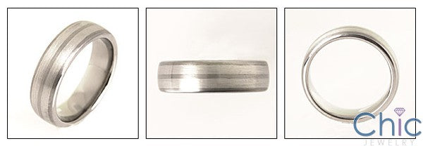 Mens Titanium Ct White Gold Stripes Wedding Band