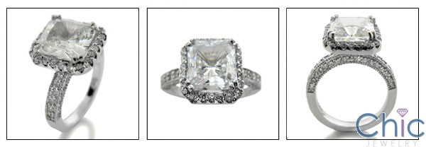 Engagement 3.5 Princess Halo Pave Cubic Zirconia Cz Ring