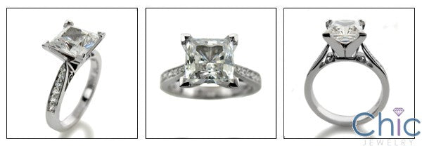 Engagement Ca dral 2 Ct Princess Center Pave Cubic Zirconia Cz Ring