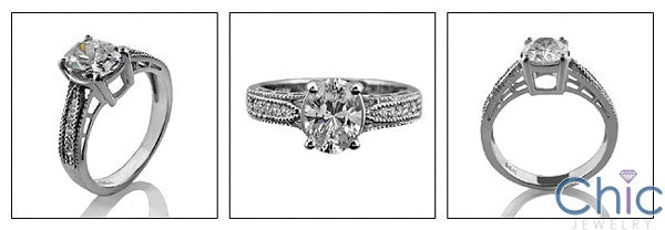 Estate Oval 2 Ct Pave set round Cubic Zirconia Cz Ring