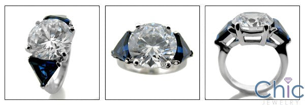 3 Stone 5 Ct Round Cubic Zirconia Sapphire Triangle 14K White Gold Cz Ring