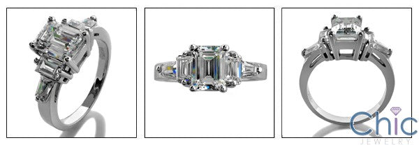 Engagement 1.5 Emerald Center Baguettes on Cubic Zirconia Cz Ring