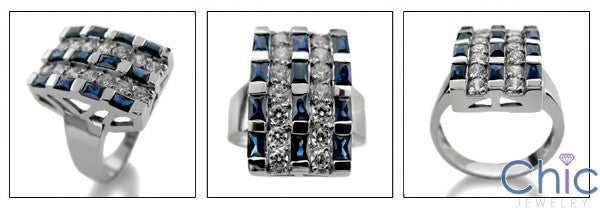 Sapphire Baguette Diamond CZ Cubic Zirconia Channel 14K White Gold Ring