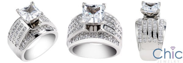 2.5 Princess Cut Cubic Zirconia Center 15mm Wide Channel Set Shank 14K White Gold CZ Engagement Ring