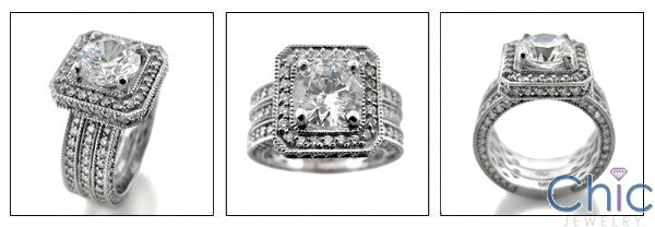 Matching Set 2 Ct Round Center HCt Engraved Cubic Zirconia Cz Ring