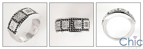 Anniversary Black Ct Diamond Round Princess Pave Invisible Cubic Zirconia Cz Ring