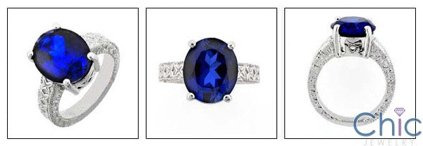 Anniversary 6 Ct Sapphire Oval Engraved Cubic Zirconia Cz Ring