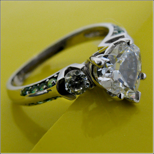Engagement Heart Shaped 1.5 Center Emerald Pave Cubic Zirconia Cz Ring