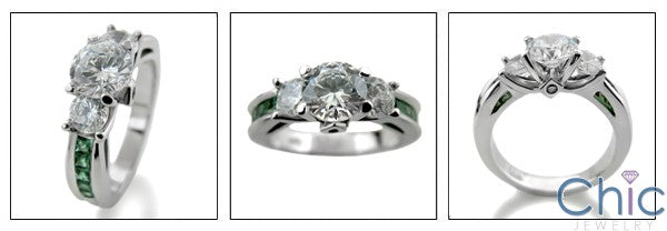Anniversary Round 3 Stone emerald green Princess Cubic Zirconia Cz Ring