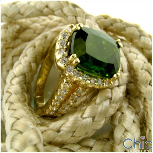 Estate Emerald Radiant Cushion Yellow Gold Cubic Zirconia Cz Ring