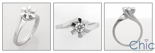 Cubic Zirconia Ring Solitaire .25 Carat  Round Channel Set Twisted Flower 14k White Gold