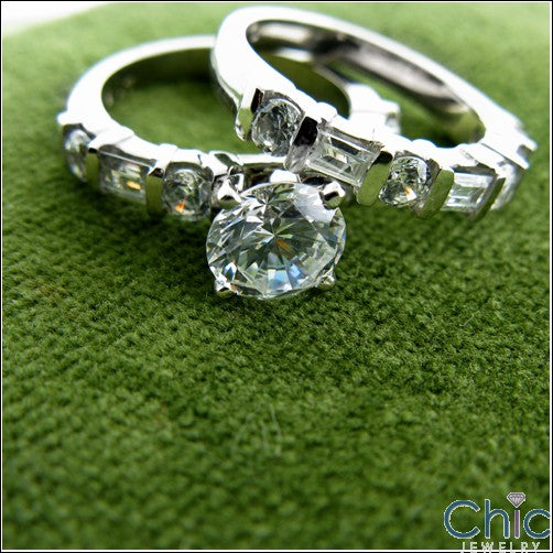 Engagement Round 1 Ct . Center Channel Cubic Zirconia Cz Ring