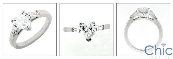 3 Stone 1.25 Heart shape center Channel Baguettes Cubic Zirconia Cz Ring