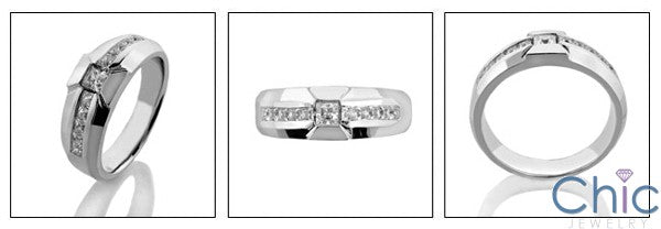 Mens .70 Princess in Channel Cubic Zirconia CZ Wedding Band
