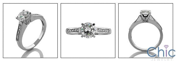 Engagement Round 1 Ct center small Pave Cubic Zirconia Cz Ring