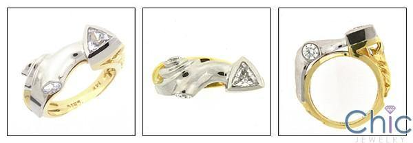 1 Carat Trillion Round in Bezel Two Tone 14K Gold Cubic Zirconia Ring