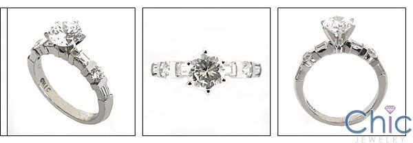 Engagement Round CZ 1 Ct Center Channel Cubic Zirconia Cz Ring