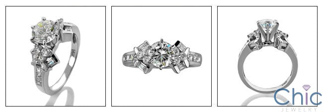 Engagement 1 Ct Round Center Channel Baguettes Cubic Zirconia Cz Ring