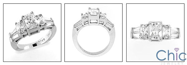 Engagement Ring Cubic Zirconia 2 Carat Radiant With Baguettes 14k White Gold