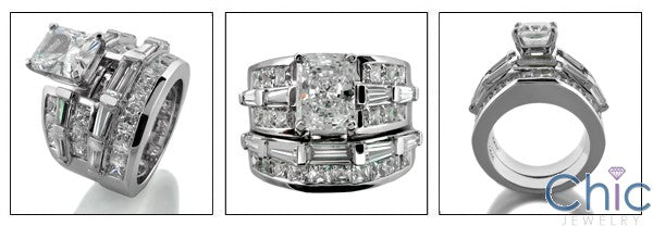 Matching Set 2 Ct Radiant Channel Cubic Zirconia Cz Ring