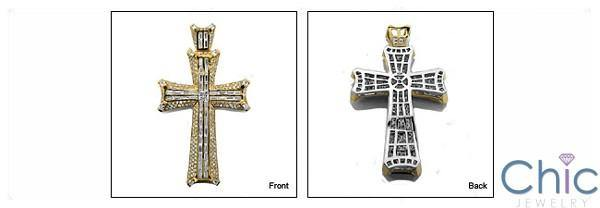 11.5 TCW Two Tone Gold Cross Princess & Round CZs