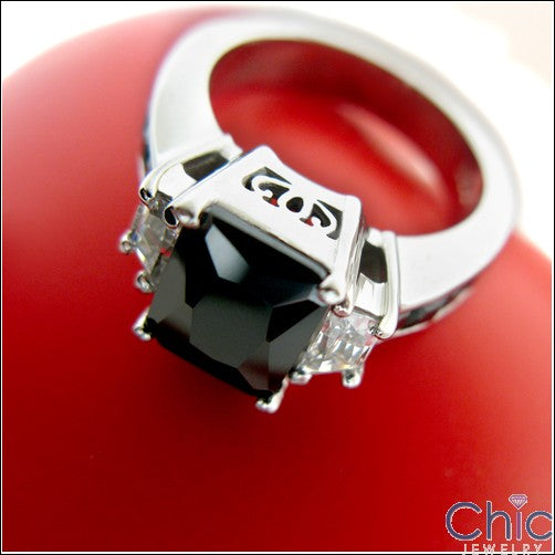 Engagement Black 3 Ct Radiant Center Princess Channel Cubic Zirconia Cz Ring