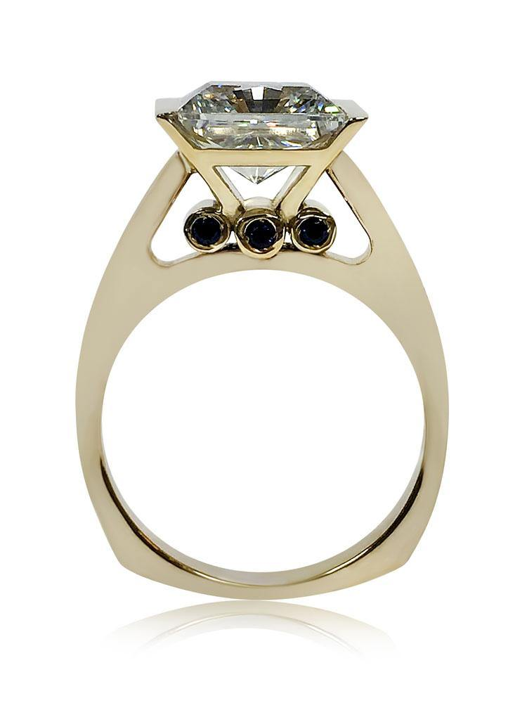 4 Carat Princess Cubic Zirconia Channel Set Two Tone Solitaire Ring