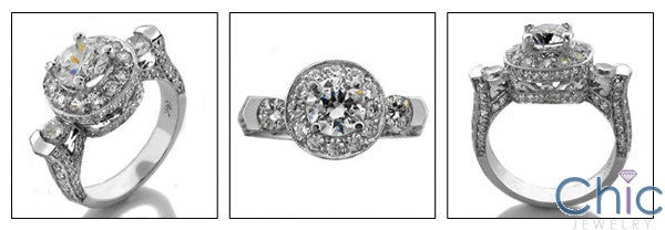 Engagement Round 1 Ct Center In Halo Pave Cubic Zirconia Cz Ring