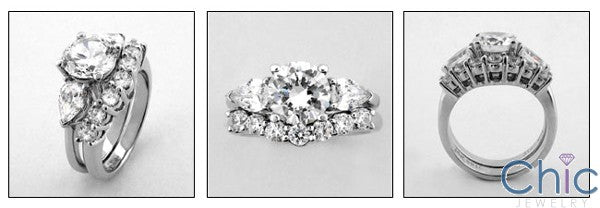 Matching Set 1.75 Round Center Pear Share Prong Fitted Cubic Zirconia Cz Ring