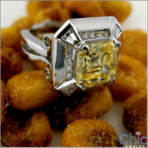 3.5 Canary Asscher Cubic Zirconia 14K White Gold Anniversary CZ Ring