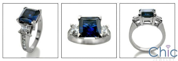 2 Carat Cubic Zirconia Blue Sapphire Princess Channel SIdes Cz 14k W Gold Ring
