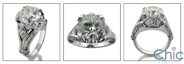 4 Carat Round Brilliant Cubic Zirconia Center Antique Style 14K White Gold Cz Ring
