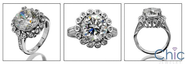 Estate 4.5 Round Center in Halo Cubic Zirconia Cz Ring