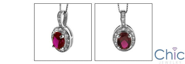 Cubic Zirconia Cz Oval Ruby 1 .5 Ct Bail In Pave Pendant