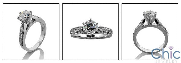 Engagement 1 Ct Round 6 Prong Pave Cubic Zirconia Cz Ring