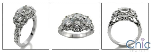 Engagement 2.25 TCW 3 Round Pave Cubic Zirconia Cz Ring