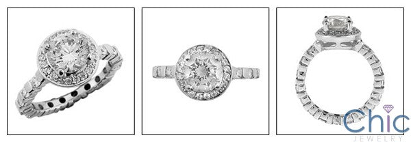 Engagement 1.5 Round Halo Ct Eternity Cubic Zirconia Cz Ring